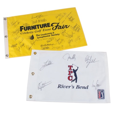 TPC River's Bend and Furniture Fair Golf Event Signed Pin Flags