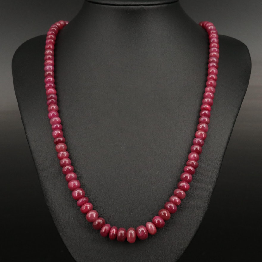Corundum Beaded Necklace with 14K Clasp