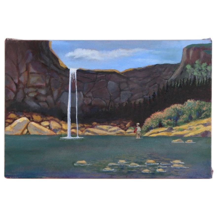 Joel Lichtenstul Wilderness Landscape Acrylic Painting, 21st Century