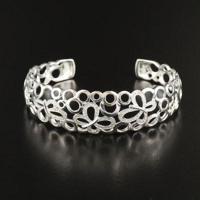 Fine Silver Diamond Openwork Butterfly Cuff