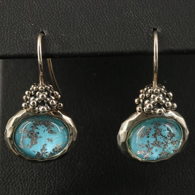 Michael Dawkins Sterling Quartz and Faux Turquoise Doublet Earrings