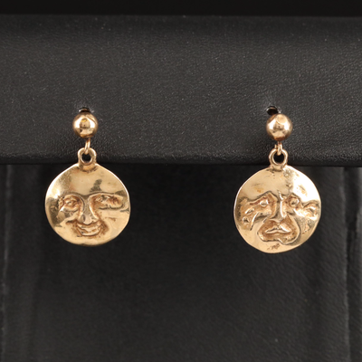 14K Happy and Sad Moon Face Earrings