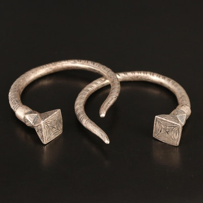 Vintage Indian Sterling Silver Tribal Cuffs with Engraved Geometric Terminals