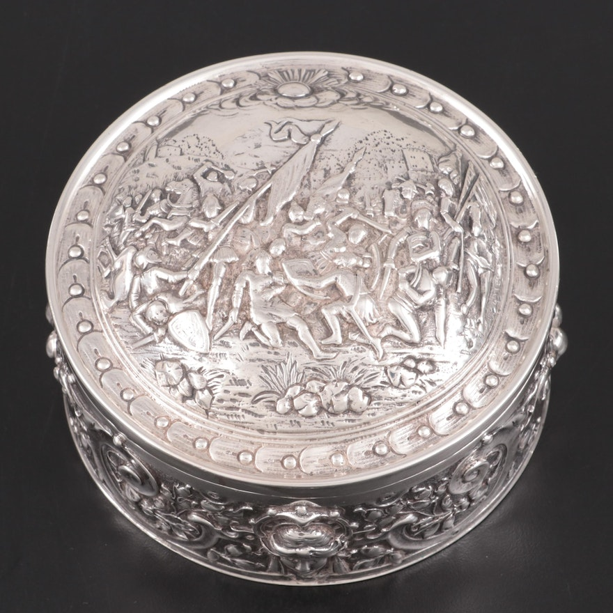 John George Smith Import Sterling Silver Repoussé Hinged Box, circa 1900