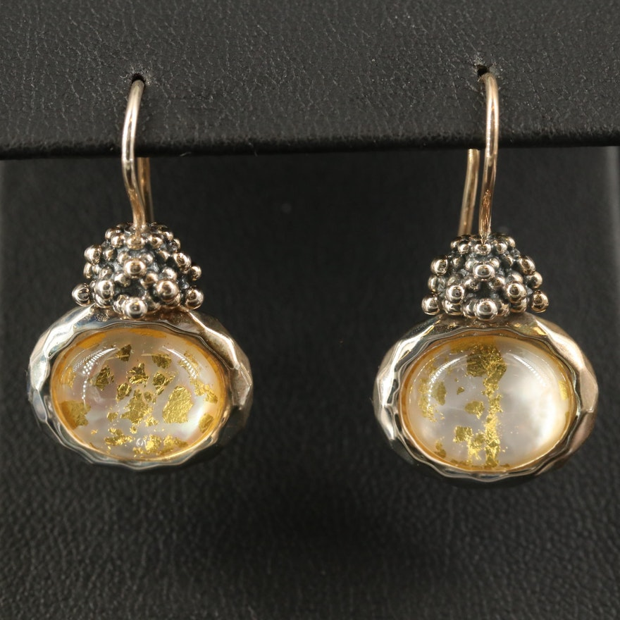 Michael Dawkins Sterling Quartz and Mother of Pearl Doublet Earrings