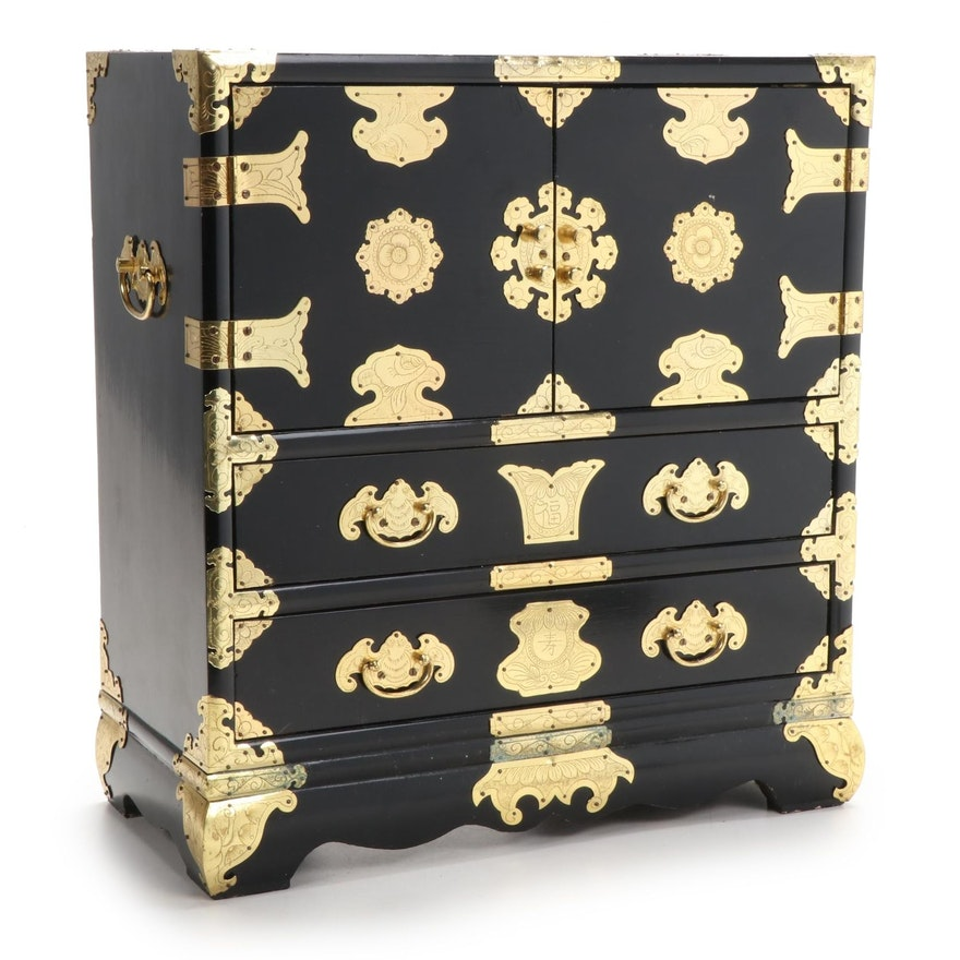 Chinese Lacquered Wood Jewelry Chest with Etched Brass Hardware, 20th Century