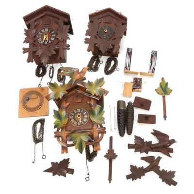 Assorted Black Forest Style Cuckoo Clock Cases and Parts