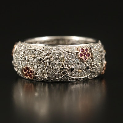 Sanrio Hello Kitty Sterling Band with Ruby and Cubic Zirconia