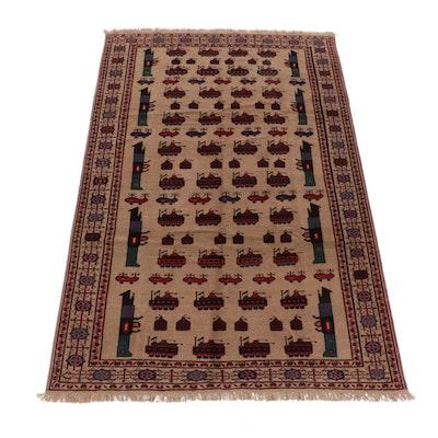 6'4 x 10' Hand-Knotted Afghan Tabriz Area Rug