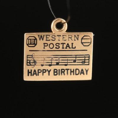"""Vintage 14K """"Happy Birthday"""" Charm"""