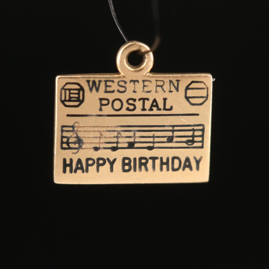 "Vintage 14K ""Happy Birthday"" Charm"