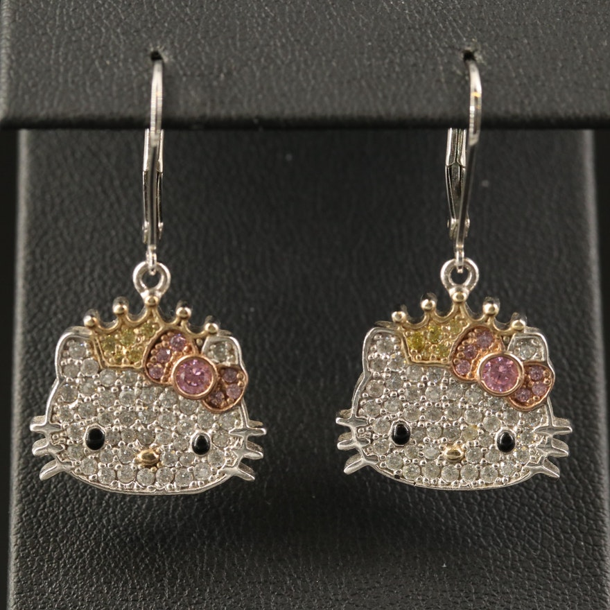 Sanrio Hello Kitty Sterling Earrings with Cubic Zirconia