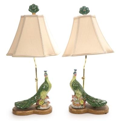 Pair of Ceramic Peacock Table Lamps