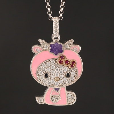 Sterling Cubic Zirconia Hello Kitty Necklace with Ruby Accents