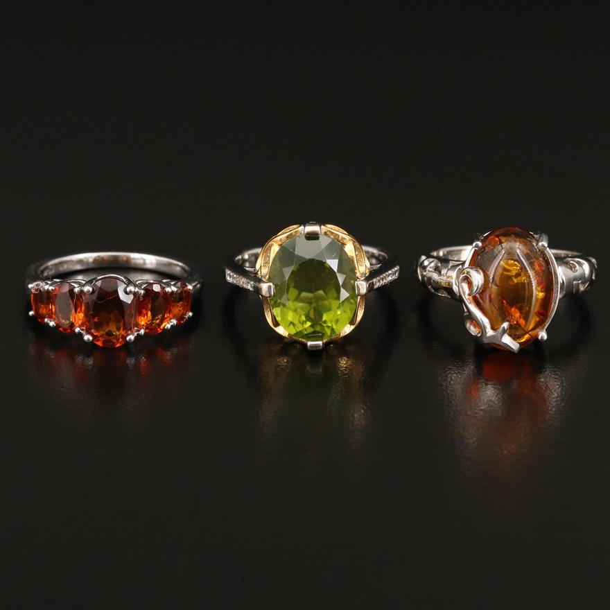 Sterling Silver Peridot, Amber and Zircon Rings
