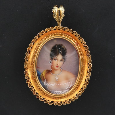 18K Diamond Habillé Converter Brooch with Woman's Portrait