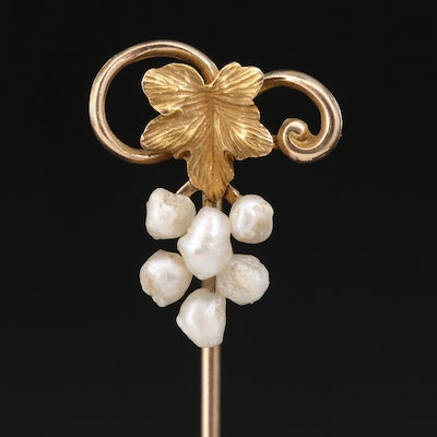 Vintage 10K Pearl Stick Pin with 14K Accent Leaf