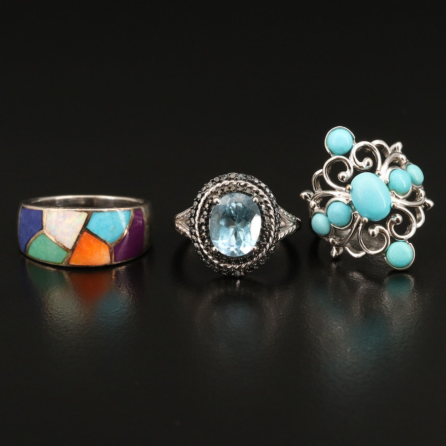 Sterling Rings Featuring Topaz, Opal and Resin
