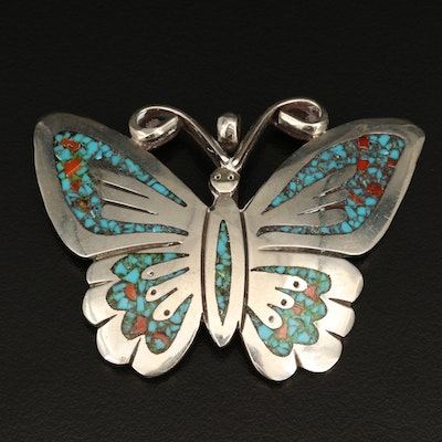 Signed Southwestern Style Butterfly Brooch with Inlay Accents