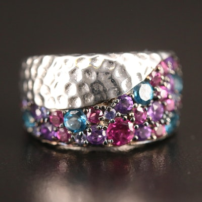 Michael Dawkins Sterling Amethyst, Topaz and Garnet Ring with Hammered Finish