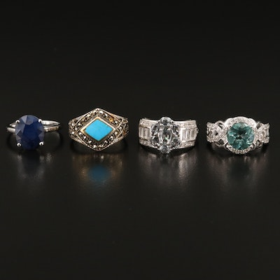 Sterling Gemstone Rings Featuring Spinel, Zircon and Marcasite