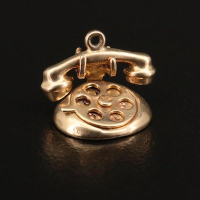 "Vintage 14K Articulated ""I Love U"" Rotary Phone Charm"