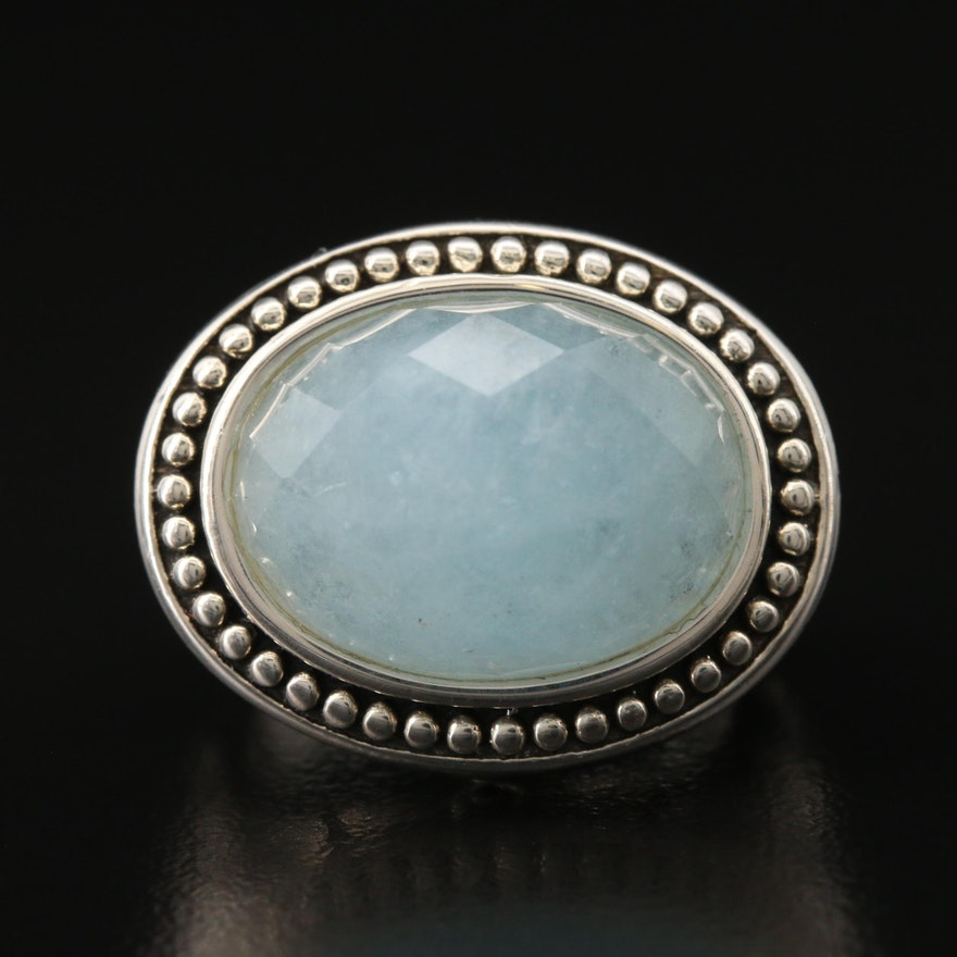 SeidenGang Sterling Silver Beryl Ring with Beaded Halo