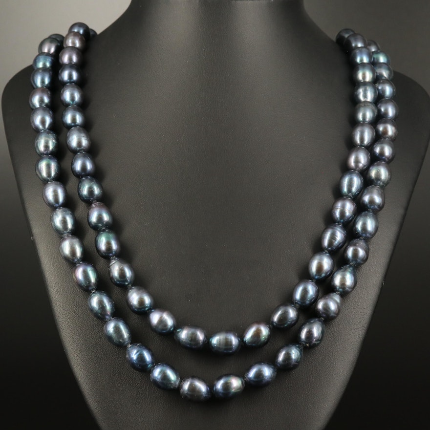 Hand Knotted Pearl Strand Necklace with 14K Clasp