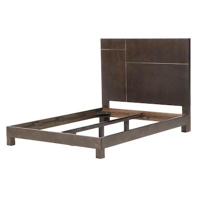 Contemporary Ebonized Wood Full Size Bed Frame