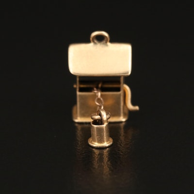 Vintage 14K Articulated Wishing Well Charm with Retractable Bucket
