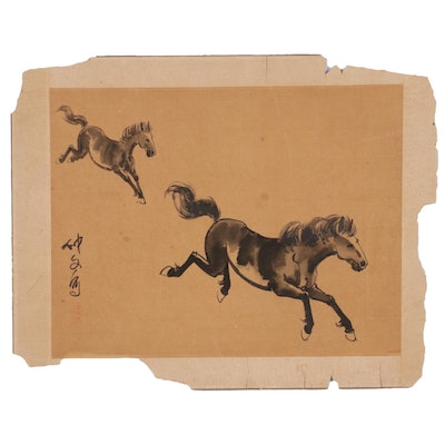 Chinese Ink Painting in the Style of Xu Beihong of Galloping Horses