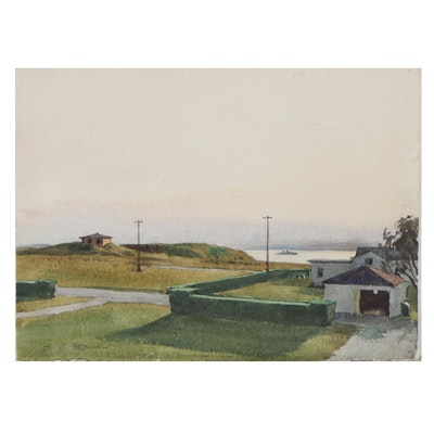 "Edmond J. Fitzgerald Watercolor Painting ""Naval War College"""