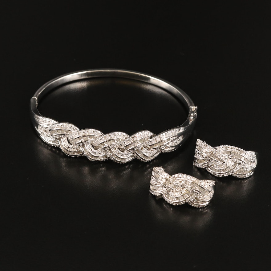 Diamond Oval Hinged Bangle and Earring Set