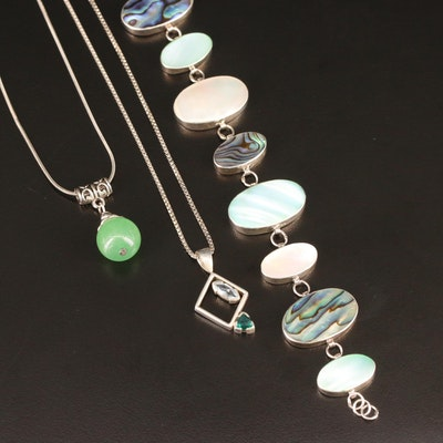 Sterling Bracelet and Necklaces with Abalone and Gemstones