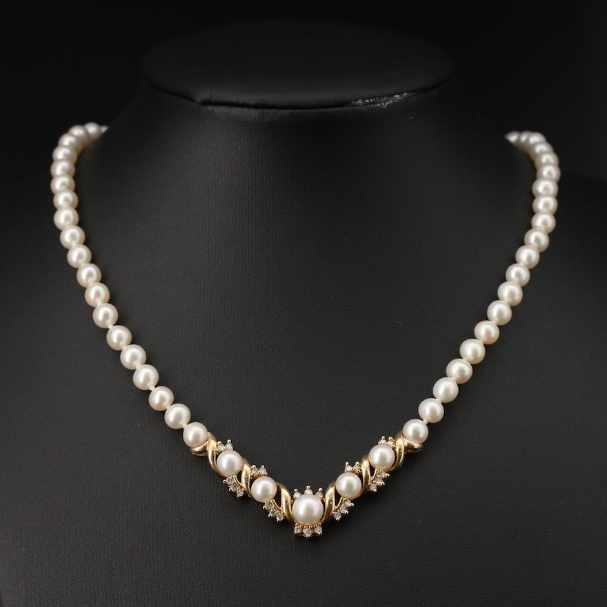 14K Pearl and Diamond Necklace