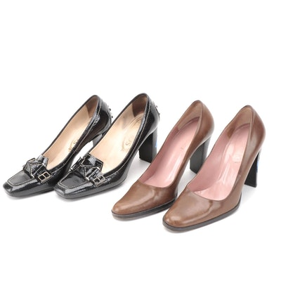 Gucci Brown Leather and Tod's Black Patent Leather Pumps