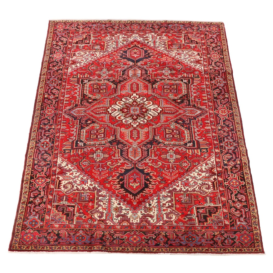 7'9 x 11'1 Hand-Knotted Persian Heriz Wool Area Rug