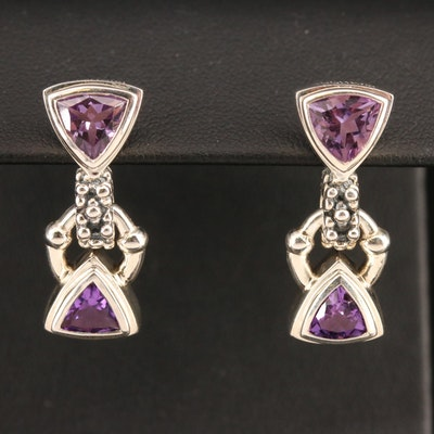 Michael Dawkins Sterling Silver Amethyst Dangle Earrings