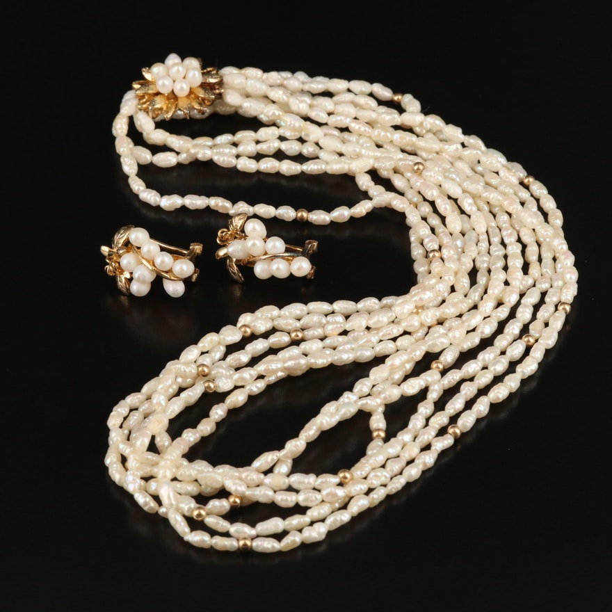 Sterling Pearl Foliate Necklace and Earrings