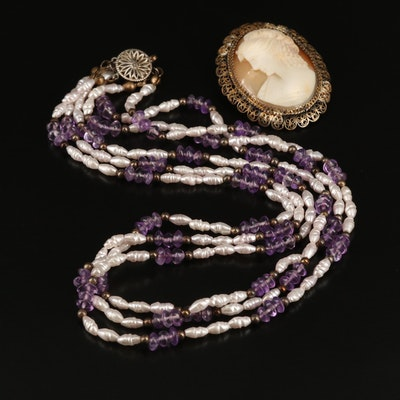 Sterling Shell Cameo Brooch and Amethyst Multi-Strand Necklace