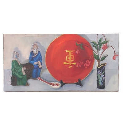 Maloney Still Life Oil Painting, 1987
