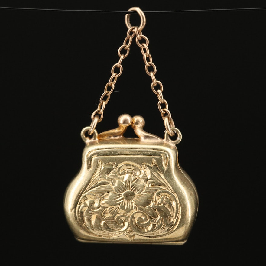 Vintage 14K Chased Purse Locket Charm
