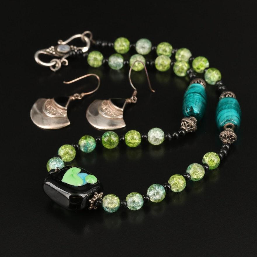 Art Glass Necklace and Sterling Fan Earrings