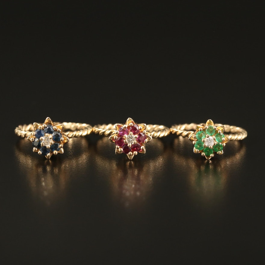 14K Ruby, Emerald and Sapphire Floral Stackable Rings