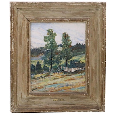 """Leo Huber Oil Painting """"Maine, Lincoln House,"""" 1945"""