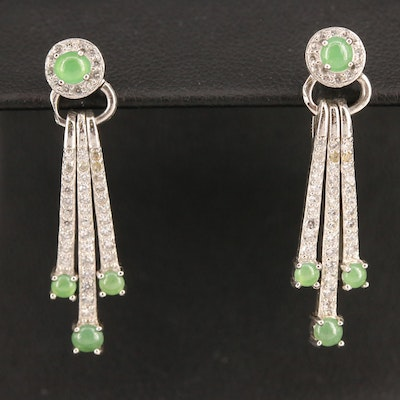 Sterling Silver Jadeite and Cubic Zirconia Fringe Earrings