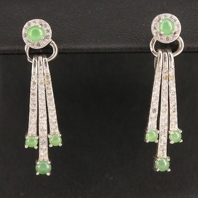 Sterling Silver Jadeite and Cubic Zirconia Fringe Earrings