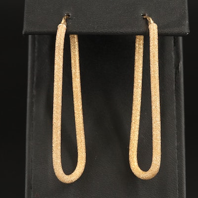 18K Textured Elongated Hoop Earrings