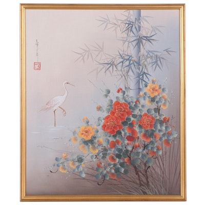 Oil Painting of Egret and Bamboo, Late 20th Century