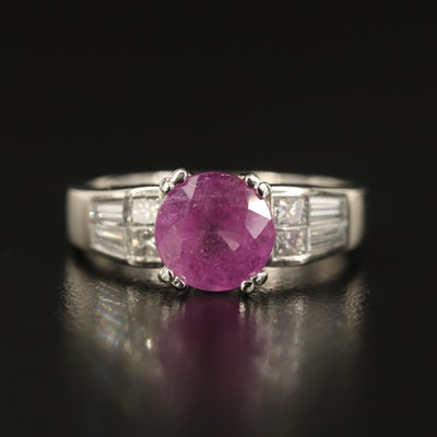 Platinum Corundum and Diamond Ring